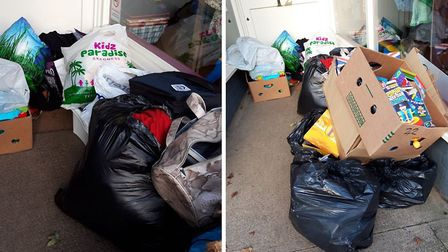 A charity shop manager is calling for people to stop flytipping and stealing from the stores doorway