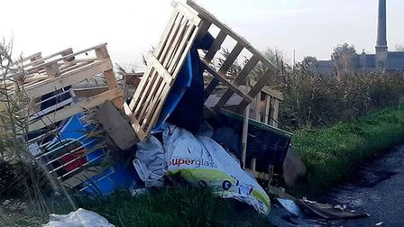 Glassmoor Bank, Whittlesey, and what is thought to be one of the worst cases of fly tipping in recen