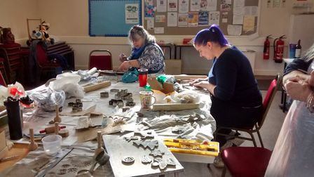 Well-known local artist Felicity Hoyle, who is a member of the Anglian Potters group, presented a 'f