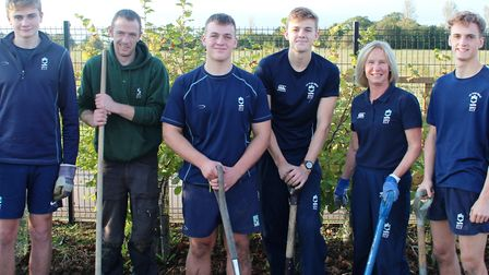 A team of King's Ely sixth formers got their hands dirty to help create a new eco garden at the Isle