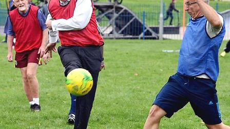 Steve Barclay (pictured here playing walking football in West End Park, March in November 2018) rece