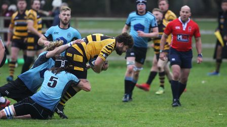 Woodbridge v Ely Tigers: Erwin Nooteboom gets stopped. Picture: STEVE WELLS