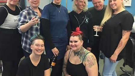 Sutton friends brave the shave to raise £460 for charity after one of them was diagnosed with breast