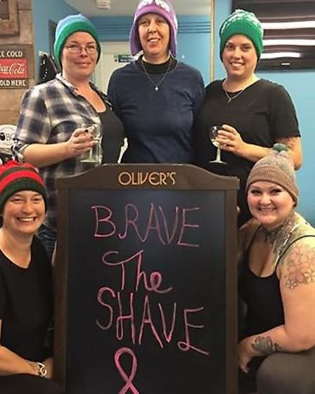 Five friends from Sutton braved the shave to raise £460 for charity after one of them was diagnosed