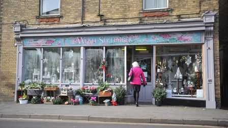 The White September gift shop in March, owned by Linda Hunns, dazzled in winter white, gold and red