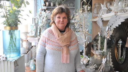 The White September gift shop in March, owned by Linda Hunns (pictured), dazzled in winter white, go