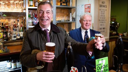 Brexit Party leader Nigel Farage during a party rally in Peterborough. Picture: Terry Harris