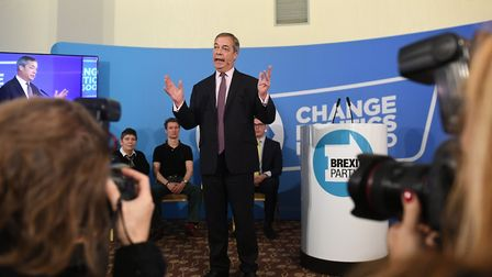 Brexit Party leader Nigel Farage during a party rally at the Great Northern Hotel, in Peterborough,