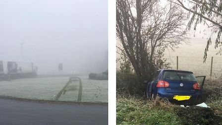Police issued a warning to motorists about driving to weather conditions after a car crashed into a