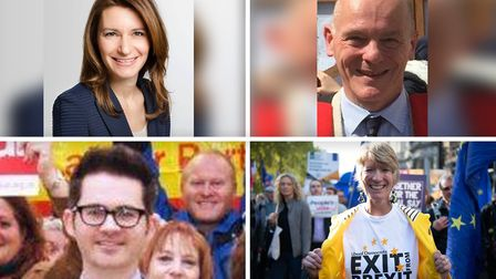 Candidates for the 2019 general election for SE Cambs. Left to right: Lucy Frazer (Con), Edmund Ford