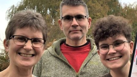 Cambridgeshire dad Terry Furlong (centre) has opened up about a LGBT+ charity helping with his son's