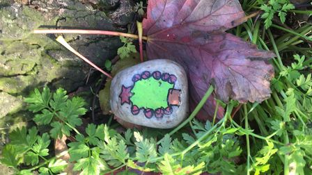 Beautifully painted rocks were hidden in Ely as an expression of love for trees on Tree Dressing Day