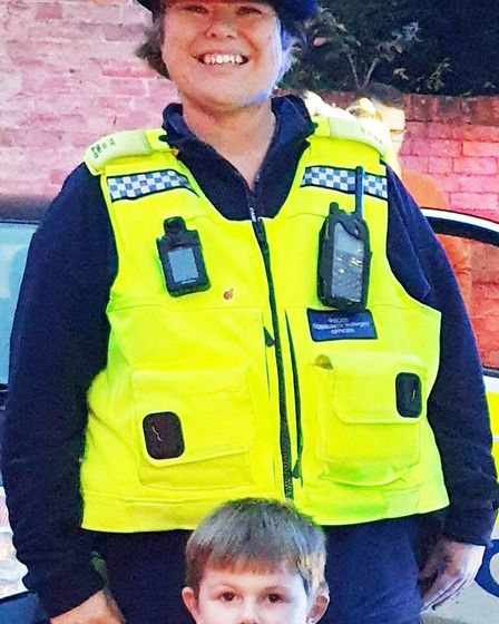 Surprise blue light birthday treat for Sutton boy Harrison. Picture: CAMBS COPS