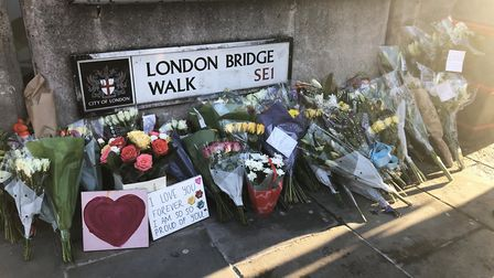 Flowers left at London Bridge in central London, following the London Bridge terror attack on Friday