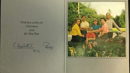Christmas cards sent by the Queen and Prince Philip to a pair of loyal married staff over 25 years a