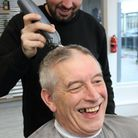 Alan Perry had his head shaved at Jack Louis in Dunmow. Picture: CONTRIBUTED