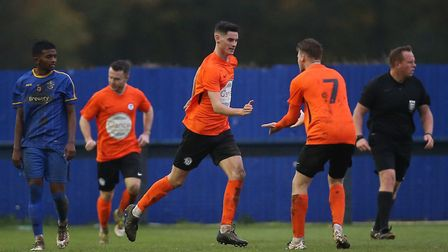 Tom Newman (centre) scored a late penalty as Soham Town Rangers were beaten by Witham Town. Picture: