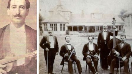 Lynn's great grandfather Herr Lion de Swarte (left) and he''s standing on the left on the band photo