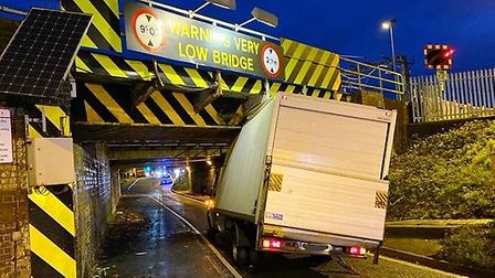 Stuntney Bridge in Ely has claimed another victim as a van causes major traffic delays. Picture: Twi