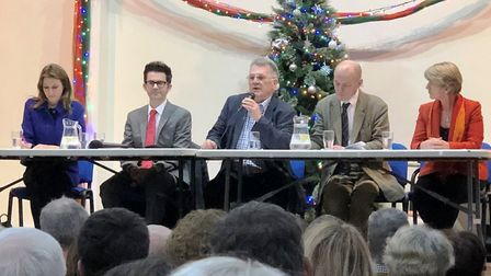 General Election 2019: Ely hustings. (From Left): Lucy Frazer, James Bull, John Elworthy (chair) Edm