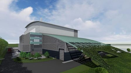 Visualisation produced by Amey showing how their energy from waster incinerator might look once buil