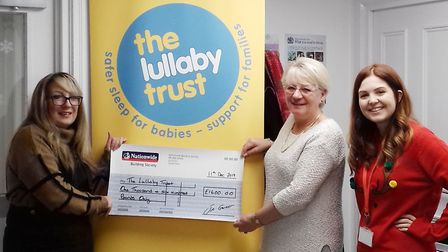 A cheque for £1600 was handed over to a bereavement charity by the lady captain Sandra Russell of Ma