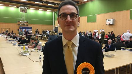 Liberal Democrat Ian Sollom at South Cambs count at Cambourne Village College. Picture: BEN HATTON