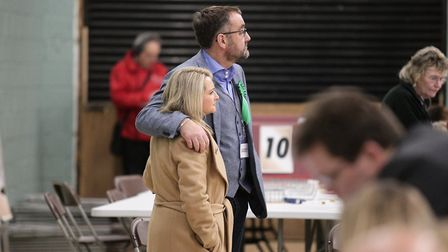 A shoulder to cry on. Ruth Johnson looks upset at the exit poll results. Picture: Harry Rutter/ARCHA