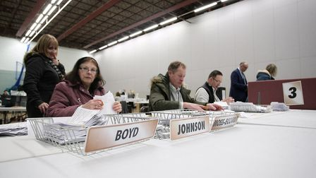 Volunteers working hard to tally the votes at the NE Cambs count in Wisbech. Picture: Harry Rutter/A