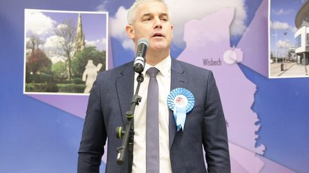 Steve Barclay takes to the stage after being elected. Picture: Harry Rutter/ARCHANT