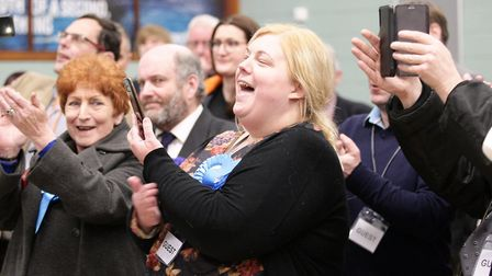 Cheers from the Conservative supporters after Steve Barclay's election. Picture: Harry Rutter/ARCHAN