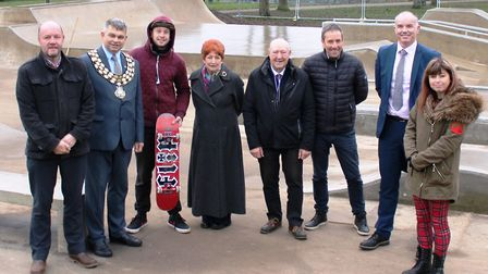 Celebrating the opening of the new skate park in March are, from left, Simon Bell, Fenland District
