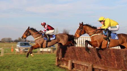 Cottenham Point-to-point: Workbench with Murray Dodd leading Call Me Vic with Albi Tuffell. Picture: