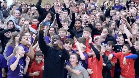 Olympic athlete Dwain Chambers joins students at Witchford Village College for 12 hour sport fundrai
