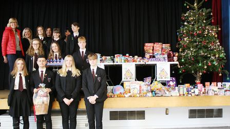 Students from Witchford Village College set up a reverse Advent calendar to help Ely Foodbank. Pictu