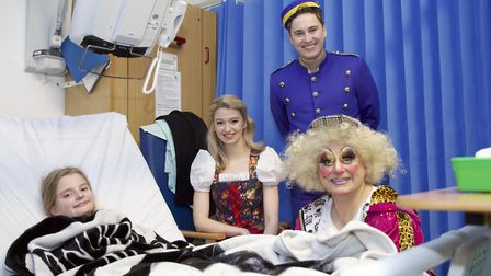 Cinderella cast members visit patients at Addenbrooke's Hospital in Cambridge as part of their annua