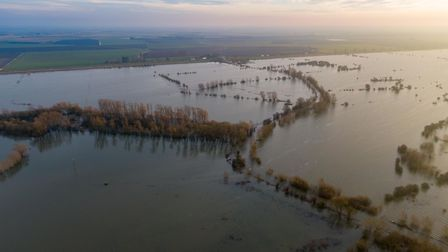 Welney Wash Road remains flooded. A1101, WelneySunday 29 December 2019. Picture by Terry Harris.