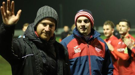 Brady Stone and Martin Grey following the final game of their Ely City reign. Picture: FRASER BADCOC