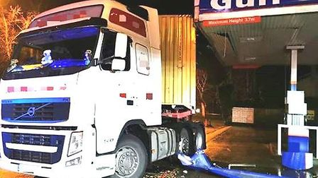 A lorry crashed into the Gulf petrol station on Wimblington Road, March on Wednesday, December 18. P