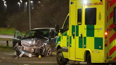A man remains in a serious condition following a car crash on New Years Eve on the A1139 Fletton Par