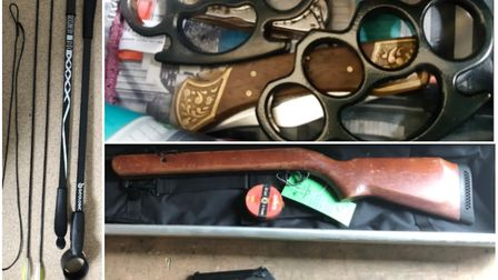 Weapons bought online by Cambridgeshire residents are seized. Picture: CAMBS POLICE