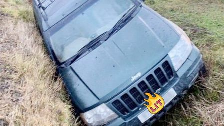 Two suspected hare coursers in Wicken were stopped by police after a vehicle in a nearby ditch was s