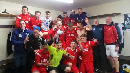 Ely City celebrate their promotion to the Thurlow Nunn League Premier Division back in 2016 - one of