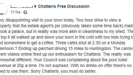 A man has apologised to Chatteris residents after he labelled a visit to the town 'very disappointin