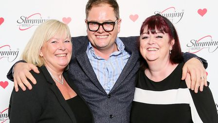 Comedian Alan Carr meets Slimming World consultants Karen and Sharon. Picture: SLIMMING WORLD