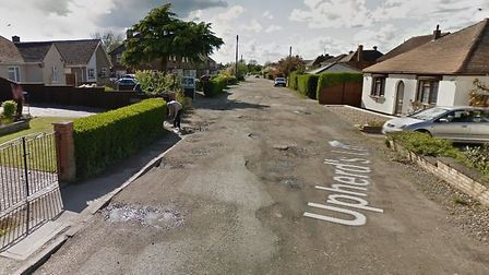 Upherds Lane, Ely, which has been 'red flagged' by East Cambs Council. The road is unadopted and so