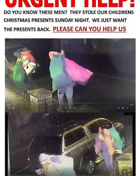 Thieves who casually walked the streets of Wimpole Street in Chatteris with sacks of stolen presents