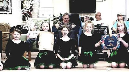 The Ely Irish Dancers performing at Soham Lodge Care Centre thanks to its Christmas of kindness appe