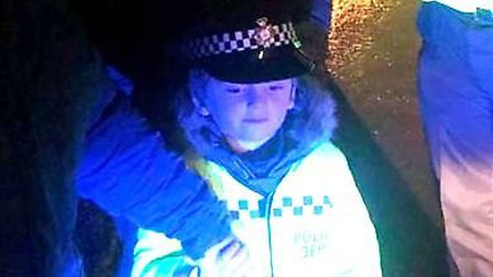 Young PC Jacob out on patrol with a fellow officer in Doddington. Picture: Supplied/@FenCops