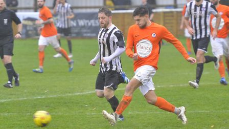 Callum Russell was the first Soham Town Rangers player to be sent off against Canvey Island. Picture